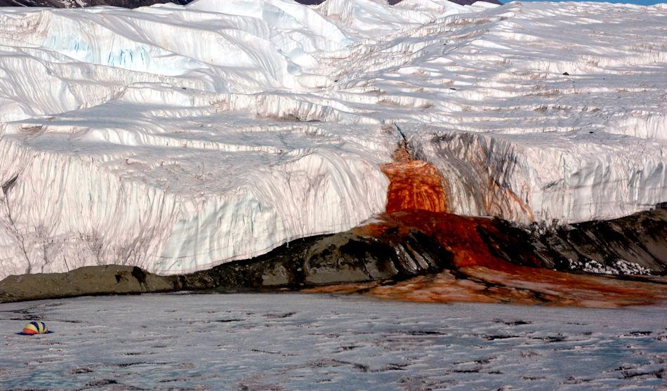 Die Blutfälle liegen im Taylor Valley, einem der Täler der Dry Valleys in der Ostantarktis. Obwohl die Region zu den trockensten der Welt gehört, schiesst flüssiges Wasser aus dem Gletscher. Das Geheimnis: enorm hohe Salzkonzentrationen und Eisenoxide, die dem Wasser die charakteristische Färbung geben. Bild: Peter Rejcek
