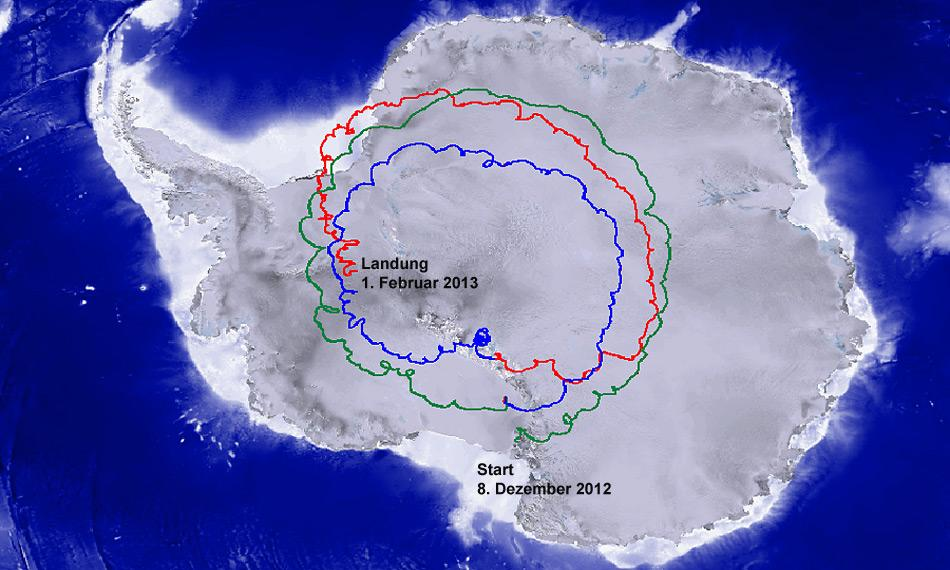 Während 55 Tagen umrundete Super-Tiger den Südpol beinahe drei Mal.