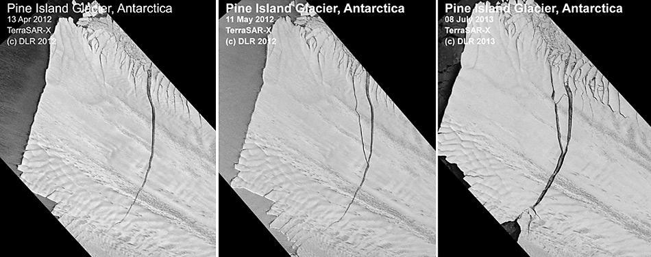 Auf dem Bild ist gut zu erkennen wie sich der Riss im Gletscher bis zur endgültigen loslösen entwickelte.
