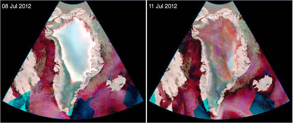 Die Fotos des indischen Satelliten Oceansat-2 zeigen die Erwärmung innert 3 Tagen. Deutlich zu erkennen ist der Anstieg (rot markiert) auf dem rechten Bild.