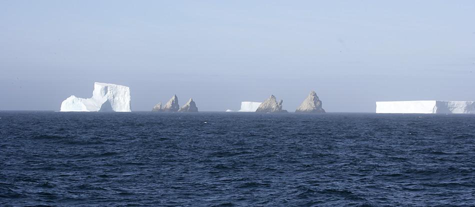 Seltenes Schauspiel - Eisberge die den Shag Rocks. Die sieben aus dem Meer ragenden Felsspitzen liegen zwischen Falkland und South Georgia.