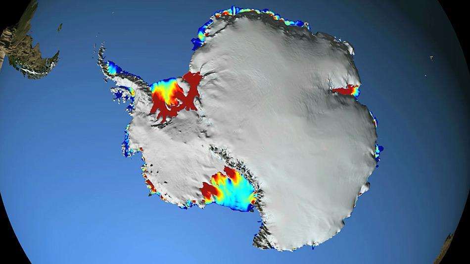 Auf der Grafik sind die gefährdeten Eisschelfe gut zu erkennen.