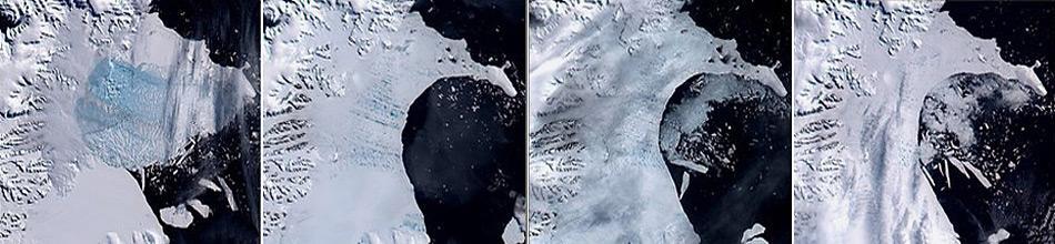 Im Jahr 2002 kollabierte das Laser Ics Shelf auf der Ostseite der Antarktischen Halbinsel.