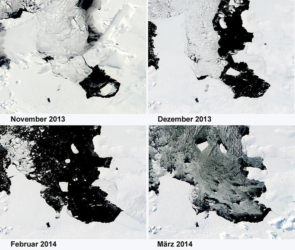 Die Satellitenaufnahmen der NASA zeigen den Verlauf wie der Eisberg B31 die Bucht vor dem Pine Island Gletscher in Richtung offenes Meer verlässt.