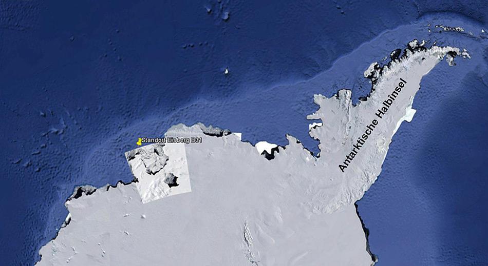 Zu sehen ist der aktuelle Standort des Eisberges. Höchstwahrscheinlich dürfte B31 mit dem Meeresstrom ostwärts in Richtung Antarktische Halbinsel driften.