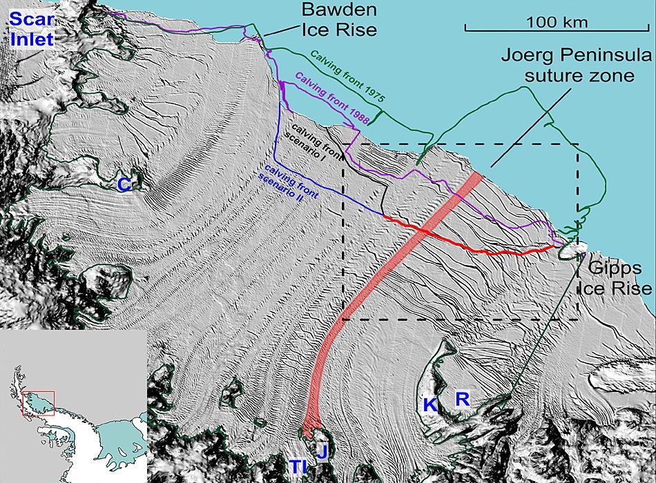 Diese Grafik zeigt eine Satellitenaufnahme vom 3. Dezember 2014. Das Larsen C-Schelfeis wird hier als graue Fläche dargestellt, welches im unteren Bildrand von den Bergen der Antarktischen Halbinsel umrandet wird. Der stetig wachsende Riss ist als rote Linie dargestellt. Sowie er sich einmal ganz durch das Eisschelf zieht, werden etwa zehn Prozent der Eisfläche als ein oder mehrere grosse Tafeleisberge wegbrechen. Aufnahme: NASA