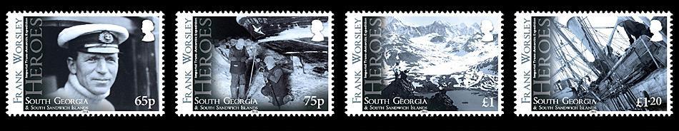 65p, Porträt von Kapitän Frank Worsley. 75p, Frank Worsley und Reginald James Sterne beobachten im Winter das Heck der im Eis eingeschlossen «Endurance». £ 1, Frank Worsley und Lionel Green, Blick über die King Edward Cove mit der «Endurance». 1,20 £, Shackleton weist Worsley an wie er plant die «Endurance» mit den drei Rettungsboote, Hunden, Schlitten und Nahrungsmitteln zu verlassen.