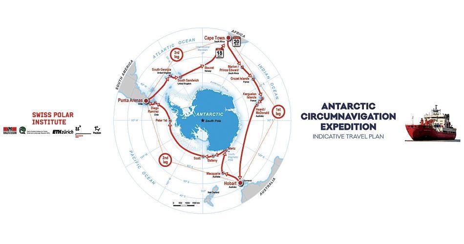 Das erste Grossprojekt des SPI ist die Antarctic Circumnavigation Expedition (ACE), eine 3-monatige Wissenschaftsexpedition rund um Antarktika. Dabei sein wird ein Team aus rund 50 Forschern aus 30 Ländern. Karte: SPI