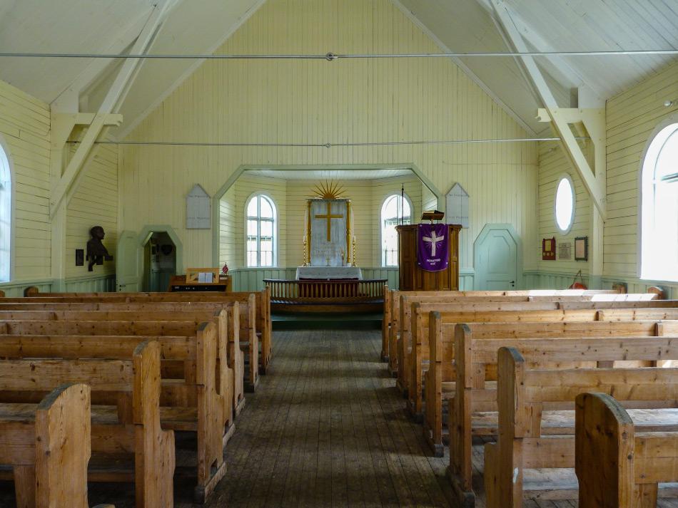 Das Innere der Walfänger Kirche in Grytviken in Südgeorgien (Foto: Katja Riedel)