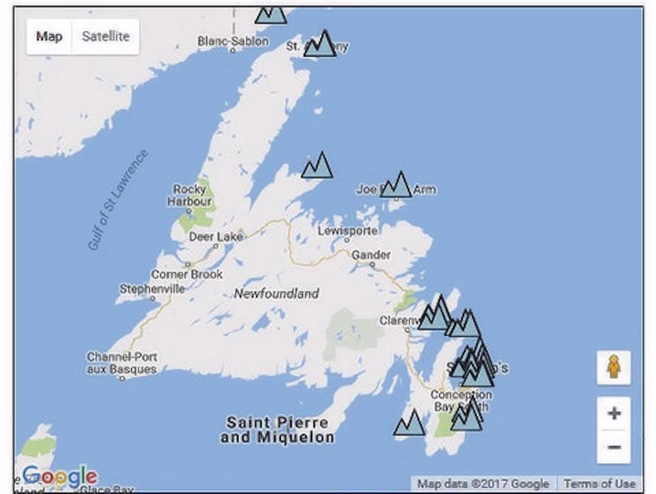 Die Karte zeigt deutlich die grosse Zahl an Eisbergen, die entlang der neufundländischen Küste treiben. Diese Berge werden danach entweder abschmelzen oder wegtreiben und eventuell zu einer Bedrohung für den Schiffsverkehr. Bild: The Weather Network