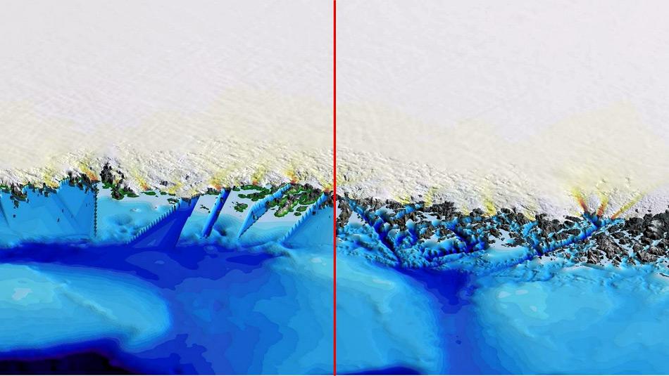 Die Karte zeigt einen Abschnitt des grönländischen Küste gemäss der Vorgaben der BedMachine vor und nach der Erfassung der OMG Daten. Besonders hervorzuheben ist der Detailgrad auf der rechten Seite im Vergleich zu der linken, die vor dem Erfassung bestand. Bild: UCI