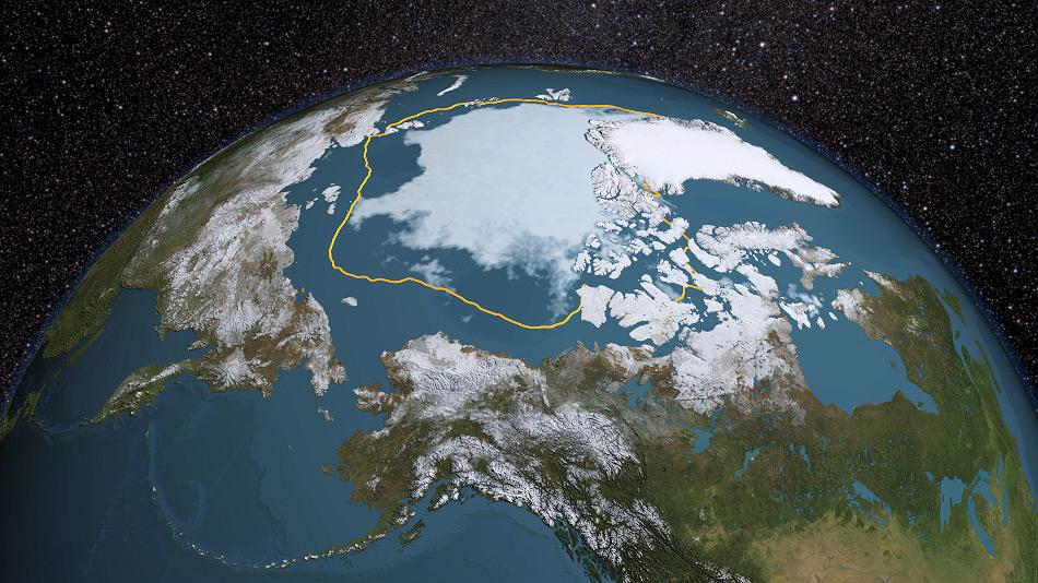 Die Ausdehnung des arktischen Meereises hat seit Beginn dieses Jahrhunderts immer weiter abgenommen. Die kleinste Ausdehnung wurde 2012 mit weniger als 4 Millionen km2 erreicht. Zum Vergleich: Der Ozean gilt als eisfrei bei einer Ausdehnung, die weniger als 1 Million km2 beträgt. Bild: NASA