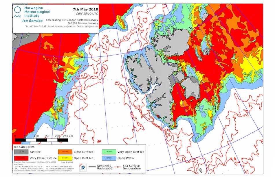 Die Eiskarte aus dem Gebiet um Svalbard zeigt deutlich, dass der nördliche Teil bis zur Ostkante von Nordauslandet am 7. Mai komplett eisfrei war. Der grösste Teil des Eises ist weggeschmolzen oder nach Norden gedriftet. Karte: Norwegian Ice Service