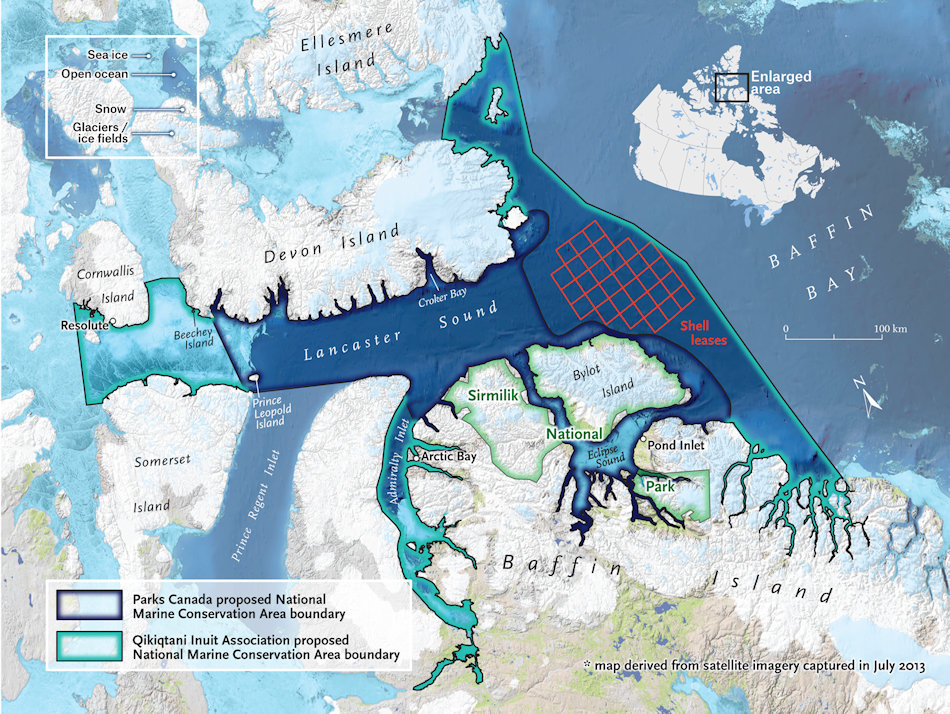 Tallurutiup Imanga bedeutet Lancaster Sound in Inuktitut und wird bei Beendigung der Verhandlungen das grösste kanadische Meeresschutzgebiet sein. Es beinhaltet auch eine von Shell geleaste Fläche zur Rohstoffgewinnung (rot) Der dunkle Teil war die von Parks Kanada vorgeschlagene Fläche, der helle Rand zeigt die nun durchgesetzte Fläche. Bild: Canadian Geographic