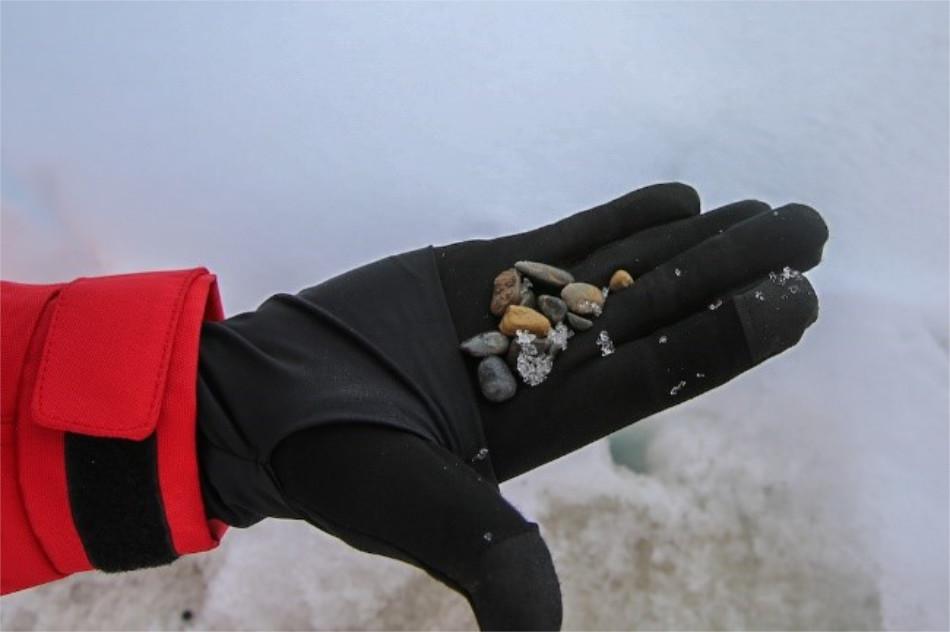 Steinchen aus dem Eis (Foto: Lisa Grosfeld, AWI)