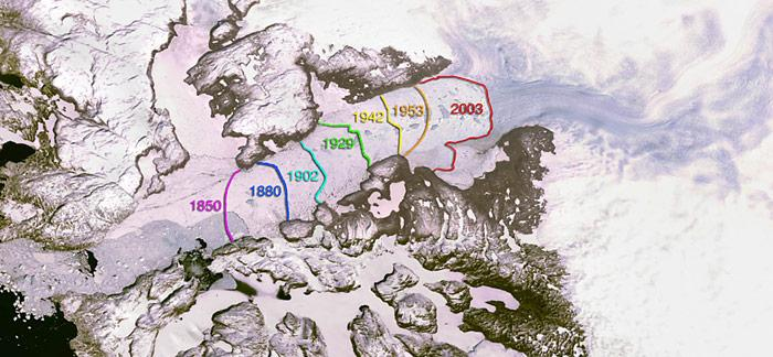 Deutlich zu erkennen ist die Eisschmelze beim Eisfjord in Ilulissat.