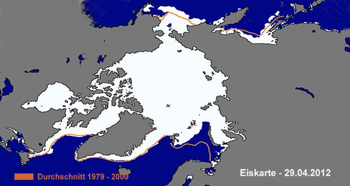Der Schein trügt, Im April ist die Arktis komplett mit Eis bedeckt, aber nur mit einer dünnen Eischicht, welche im Sommer grössteteils schmilzt.