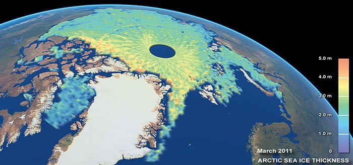 Eiskarte der Arktis im März 2011 hergestellt aus Daten des Satelliten «Cryosat-2»
