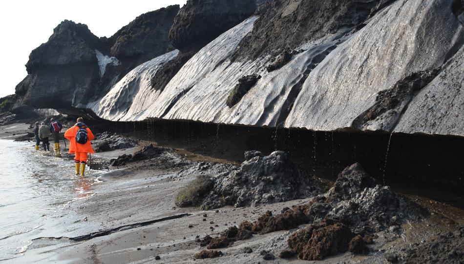 Der vereiste sibirische Untergrund ist hier besonders tief ausgehöhlt. Das den Küstenhang hinunterlaufende Schmelzwasser ist ein deutlicher Indikator für die abtragende Wirkung der taubedingten Küstenerosion Foto: M.N. Grigoriev, AWI