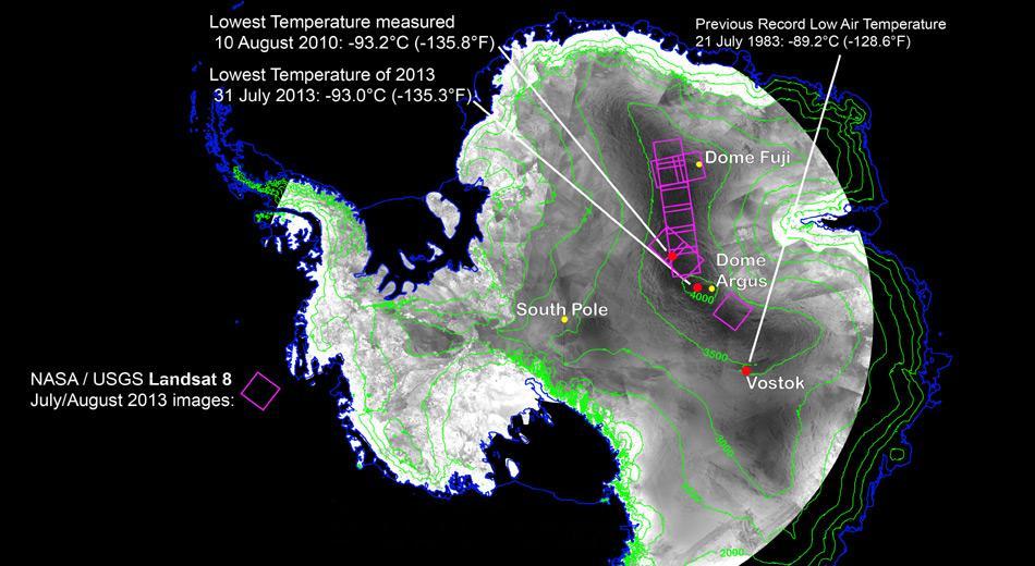 Bisher galten -89,3 Grad Cel. bei der russischen Station Vostok als Kältepol. Mit neuster Satellitentechnik wurden noch tiefere Temperaturen gemessen.