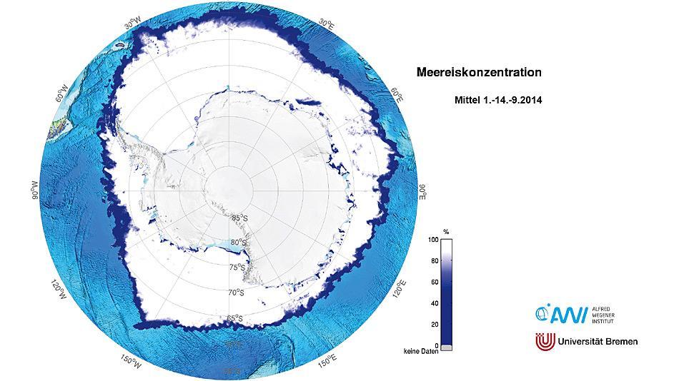 Diese Karte zeigt die antarktische Meereiskonzentration, gemittelt aus den Tageswerten der ersten Septemberhälfte des Jahres 2014 (1.-14. September 2014). Karte: Alfred-Wegener-Institut/Universität Bremen