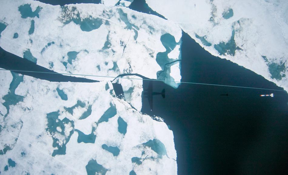 Meereisdickenmessungen mit dem AWI-Forschungsflugzeug Polar 6 nördlich Grönlands, August 2016. Von Bord des Flugzeuges aus bedienen die Meereisphysiker eine Winde, welche das torpedoförmige Messgerät in die Tiefe hinabsinken lässt (Mitte rechts). (Foto: Alfred-Wegener-Institut/Esther Horvath)