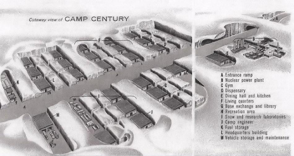 Die Karte zeigt das Camp unter dem Eis. Besonders die Materialien, die für den Bau des Camps verwendet worden waren, könnten jetzt zu Umweltschäden führen.
