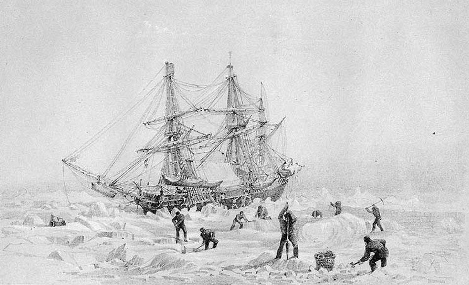 Die HMS Terror war eine Bombarde und wurde 1812-13 gebaut. Nach ihrem Dienst als Kriegsschiff wurde sie umgebaut und als Polarexpeditionsschiff genutzt. Sie war 31 m lang, hatte sowohl Segel wie auch einen 30 PS-Dampfantrieb, einen Eisen-verstärkten Bug und eine Besatzung von 67 Mann. Bild: National Archives of Canada
