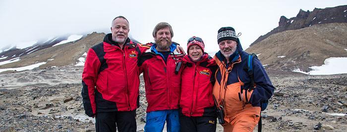 Treffen alter Freunde auf Champ Island, v.l.n.r. Heiner Kubny, Victor Boyarsky, Rosamaria Kubny, Sepp Friedhuber