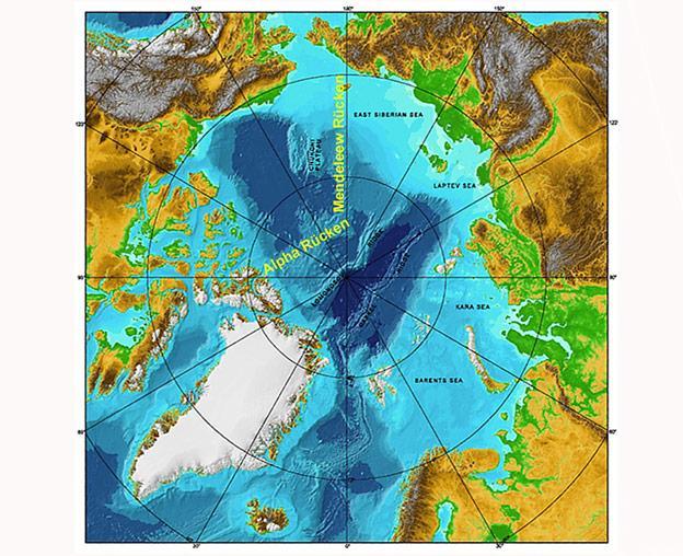 Den Wissenschaftlern zufolge soll der Mendeleew-Rücken im zentralen Teil des Nordpolarmeers eine Fortsetzung des eurasischen Kontinents sein.