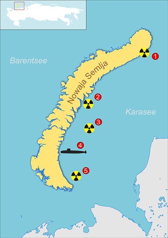 1: 2 Reaktoren ohne verbrauchte Kernbrennstoffe  2: 2 Reaktoren ohne verbrauchte Kernbrennstoffe und 60% der Kernbrennstoffe des Eisbrechers Lenin in Containern  3: 6 Reaktoren mit Uran, 10 ohne Kernbrennstoffe, 11.000 Container mit radioaktiven Abfällen  4: Unterseeboot K-27 mit zwei Reaktoren  5: 3 Reaktoren mit und 3 ohne Kernbrennstoffe