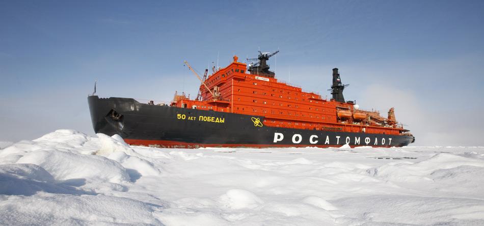 Russische Eisbrecher werden vermehrt für die Sicherung der russischen Nordpolarküste eingesetz.