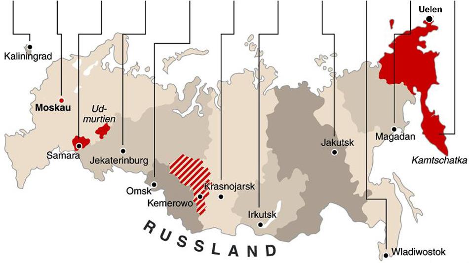 Russland wird neu in 11 Zeitzonen eingeteilt. Wenn im Westen gefrühstückt wird gehen die Tschuktschen im Osten schon zu Bett.