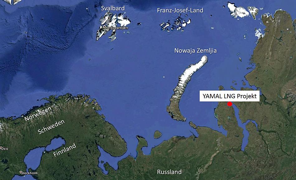Die Flüssiggas-Anlage liegt im Distrikt Yamal an der Karasee und liegt gerade gegenüber der russischen Insel und Atomtestanlage Nowaja Zemlya.