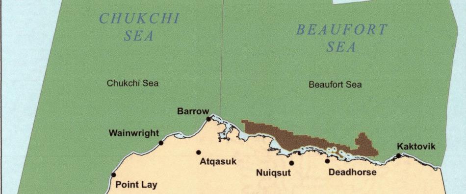 Grosse Gebiete des US-Teils der Tschuktschen- und Beringsee werden für Förderversuche auf unbestimmte Zeit gesperrt. Der designierte Präsident Donald Trump wird Schwierigkeiten haben, seine gemachten Versprechen, die amerikanische Öl und Gasproduktion zu verstärken, zu halten aufgrund des Gesetzes von 1953. Karte: ABC News