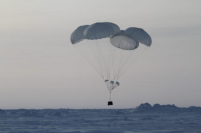 Fallschirm Landung
